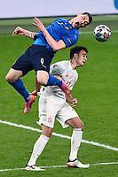 6th July 2021; Wembley Stadium, London, England; Euro 2020 Football Championships semi-final, Italy versus Spain;  Andrea Belotti challenges Eric Garcia (Esp)