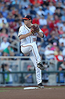 Nathan Kirby #19 of the Virginia Cavaliers pitches during Game 4 of the 2014 Men's College World Series between the Virginia Cavaliers and Ole Miss Rebels at TD Ameritrade Park on June 15, 2014 in Omaha, Nebraska. (Brace Hemmelgarn/Four Seam Images)