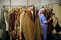 Cleaning costumes backstage at the Aspendos open-air theatre, Antalya, Turkey