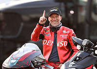 Sep 5, 2020; Clermont, Indiana, United States; NHRA pro stock motorcycle rider Matt Smith celebrates after winning the Pro Bike Battle during qualifying for the US Nationals at Lucas Oil Raceway. Mandatory Credit: Mark J. Rebilas-USA TODAY Sports