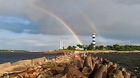 Double rainbow at Daugavgriva Lighthouse Latvia