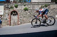 Giulio Ciccone (ITA/Trek - Segafredo) at a crazy fast descent mid-race<br /> <br /> 104th Giro d'Italia 2021 (2.UWT)<br /> Stage 12 from Siena to Bagno di Romagna (212km)<br /> <br /> ©kramon