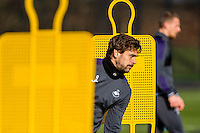 Wednesday 08 February 2017<br /> Pictured: Fernando Llorente runs through the mannequins <br /> Re: Swansea City FC training session at the Fairwood training ground, Swansea, Wales, UK