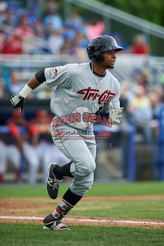 Tri-City ValleyCats right fielder Corey Julks (44) runs to first base during a game against the Batavia Muckdogs on July 14, 2017 at Dwyer Stadium in Batavia, New York.  Batavia defeated Tri-City 8-4.  (Mike Janes/Four Seam Images)