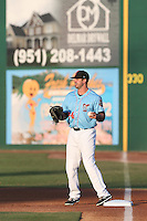 Eric Aguilera (24) of the Inland Empire 66ers in the field during a game against the San Jose Giants at San Manuel Stadium on May 30, 2015 in San Bernardino, California. Inland Empire defeated San Jose, 6-4. (Larry Goren/Four Seam Images)
