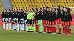 v.li.: Beide Mannschaft bei den Nationalhymnen, DIE DFB-RICHTLINIEN UNTERSAGEN JEGLICHE NUTZUNG VON FOTOS ALS SEQUENZBILDER UND/ODER VIDEOÄHNLICHE FOTOSTRECKEN. DFB REGULATIONS PROHIBIT ANY USE OF PHOTOGRAPHS AS IMAGE SEQUENCES AN/OR QUASI-VIDEO., 21.02.2021, Aachen (Deutschland), Fussball, Länderspiel Frauen, Deutschland - Belgien <br /> <br /> Foto © PIX-Sportfotos *** Foto ist honorarpflichtig! *** Auf Anfrage in hoeherer Qualitaet/Aufloesung. Belegexemplar erbeten. Veroeffentlichung ausschliesslich fuer journalistisch-publizistische Zwecke. For editorial use only.