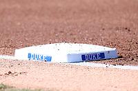 DURHAM, NC - FEBRUARY 29: First base during a game between Notre Dame and Duke at Duke Softball Stadium on February 29, 2020 in Durham, North Carolina.