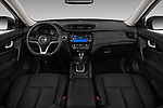 Stock photo of straight dashboard view of 2017 Nissan Rogue SL-Hybrid 5 Door SUV Dashboard
