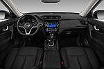 Stock photo of straight dashboard view of 2017 Nissan Rogue SL-Hybrid 5 Door SUV Dashboard