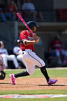 Lucas Erceg (34) of the Carolina Mudcats follows through on his swing against the Winston-Salem Dash at Five County Stadium on May 14, 2017 in Zebulon, North Carolina.  The Mudcats walked-off the Dash 11-10.  (Brian Westerholt/Four Seam Images)