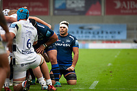 29th August 2020; AJ Bell Stadium, Salford, Lancashire, England; English Premiership Rugby, Sale Sharks versus Bristol Bears; Jono Ross of Sale Sharks about to go into the scrum
