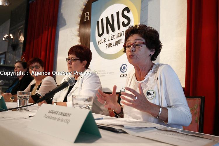 Conference de presse de la Federation des Comites de Parents du Quebec, 30 Aout 2015. Louise Chabot, CSQ<br /> <br /> PHOTO : Agence Quebec Presse