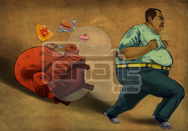 Obese man running with foodstuff and easy chair over colored background depicting the concept of weight loss