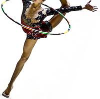 Gymnast performing hoop routine