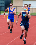 OXFORD, CT 050421JS09—Oxford's Aidan Sill finishes strong as the anchor of their 1X100 meter relay during their NVL track meet with Seymour and Sacred Heart Tuesday at Oxford High School. <br /> Jim Shannon Republican American