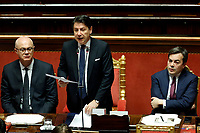 Federico D'Inca', Minister of the relations with Parliament, Italian Premier Giuseppe Conte and Vincenzo Amendola minister of European affairs<br /> Rome February 18th 2020. Senate. Speech of the Italian Premier about the next European Council.<br /> Foto Samantha Zucchi Insidefoto
