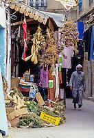 Tunisia.  Tunis Medina.  Street Scene, Vendor's Shop.