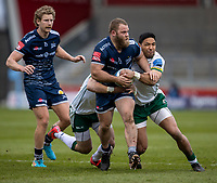 21st March 2021; AJ Bell Stadium, Salford, Lancashire, England; English Premiership Rugby, Sale Sharks versus London Irish; Akker van Der Merwe of Sale Sharks is tackled