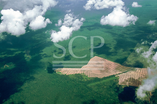 Mato Grosso State, Amazon, Brazil. Aerial view of agriculture encroaching into rainforest. Deforestation. Finger of progress.