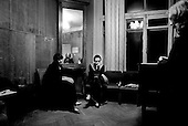 Moscow, Russia  .1998.Anna Skryleva, a 23-year-old concert pianist student at Moscow's Tchaikovsky conservatory, waits backstage with other pianists before performing to a small audience at the conservatory..