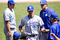 Brandon Dorsett (33) of the Indiana State Sycamores walks off the field during a game against the Evansville Purple Aces in the 2012 Missouri Valley Conference Championship Tournament at Hammons Field on May 23, 2012 in Springfield, Missouri. (David Welker/Four Seam Images)