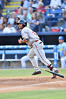 Greenville Drive left fielder Tyler Hill (7) starts down the first base line during a game against the Asheville Hippies at McCormick Field on June 29, 2017 in Asheville, North Carolina. The Drive defeated the Tourists 9-6. (Tony Farlow/Four Seam Images)