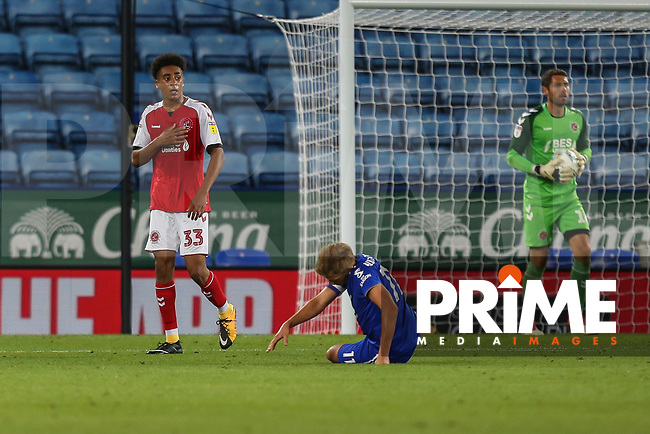 James Hill of Fleetwood Town (33) during the English League Cup Round 2 Group North match between Leicester City and Fleetwood Town at the King Power Stadium, Leicester, England on 28 August 2018. Photo by David Horn.
