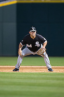 Chicago White Sox first baseman Dan Black (84) on defense against the Charlotte Knights at BB&T Ballpark on April 3, 2015 in Charlotte, North Carolina.  The Knights defeated the White Sox 10-2.  (Brian Westerholt/Four Seam Images)