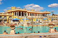The largest medicinal thermal baths in Europe. The Neo baroque Szechenyi baths, City Park, budapest, Hungary