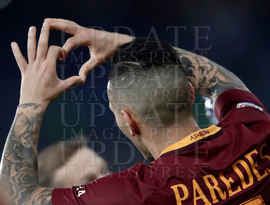 Calcio, Serie A: Roma, stadio Olimpico, 19 febbraio 2017.<br /> Roma's Leandro Paredes celebrates after scoring during the Italian Serie A football match between As Roma and Torino at Rome's Olympic stadium, on February 19, 2017.<br /> UPDATE IMAGES PRESS/Isabella Bonotto