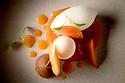 1/07/18 - PONT D ALLEYRAS - HAUTE LOIRE - FRANCE - Etablissement Le Haut Allier. Citron et abricot, recette preparee par Camille Brun, une etoile au Michelin - Photo Jerome CHABANNE