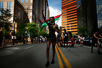 Protesters take part in Civil Saturday that started in Market Square and marched through downtown before being met by Pittsburgh Police in riot gear near the Fort Pitt bridge on ramp on Saturday July 4, 2020 in Pittsburgh, Pennsylvania. (Photo by Jared Wickerham/Pittsburgh City Paper)