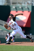 Lansing Lugnuts pitcher Daniel Norris (22) during a game against the Dayton Dragons on August 25, 2013 at Cooley Law School Stadium in Lansing, Michigan.  Dayton defeated Lansing 5-4 in 11 innings.  (Mike Janes/Four Seam Images)