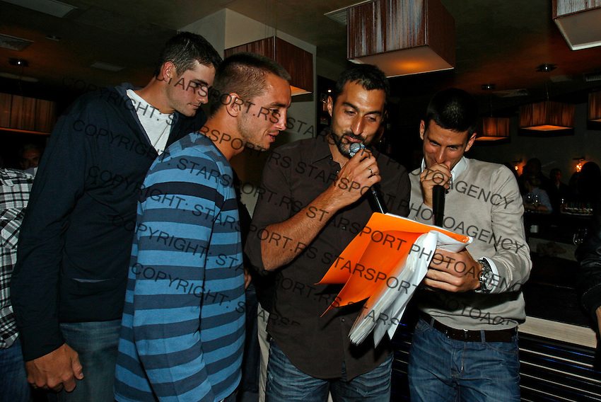 "John Isner, Viktor Troicki, Nenad Zimonjic, Novak Djokovic, Players Party, Novak restaurant, ATP 250 series tennis tournament ""Serbia Open"" in Belgrade, Serbia, Tuesday, April 26. 2011. (photo: Pedja Milosavljevic / SIPA PRESS)"