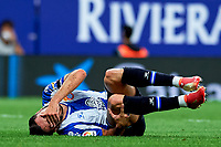 22nd September 2021: RCDE Stadium, Barcelona, Spain: La Liga Football, Espanyol versus Atletico Madrid; <br /> Oscar Gil of RCD Espanyol goes down with an injury