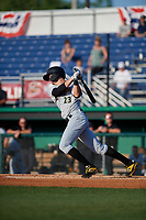 West Virginia Black Bears Jared Triolo (23) bats during a NY-Penn League game against the Batavia Muckdogs on June 26, 2019 at Dwyer Stadium in Batavia, New York.  Batavia defeated West Virginia 4-2.  (Mike Janes/Four Seam Images)