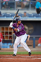 Charlotte Stone Crabs catcher David Rodriguez (13) at bat during a game against the Palm Beach Cardinals on April 21, 2018 at Charlotte Sports Park in Port Charlotte, Florida.  Charlotte defeated Palm Beach 5-2.  (Mike Janes/Four Seam Images)