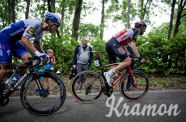 Nikolas Maes (BEL/Lotto-Soudal) & Stijn Steels (BEL/Deceuninck Quick Step) out of the saddle on the steepest part of the course<br /> <br /> the inaugural GP Vermarc 2020 is the very first pro cycling race in Belgium after the covid19 lockdown of Spring 2020 & which was only set up some weeks in advance to accommodate belgian teams by providing racing opportunities asap after the lockdown allowed for racing to restart (but still under strict quarantine / social distancing measures for the public, riders & press)<br /> <br /> Rotselaar (BEL), 5 july 2020<br /> ©kramon