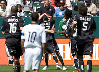 DC United celebrate a goal. The LA Galaxy and DC United play to 2-2 draw at Home Depot Center stadium in Carson, California on Sunday March 22, 2009.