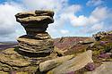 The Salt Cellar, a gritstone formaton on Derwent Edge. Peak District National Park, Derbyshire, UK. August.