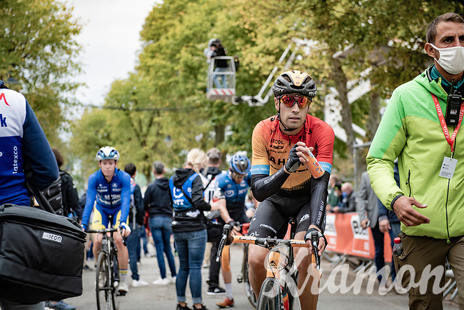 Mikel Landa (ESP/Bahrain-McLaren) crossing the finish line<br /> <br /> 84th La Flèche Wallonne 2020 (1.UWT)<br /> 1 day race from Herve to Mur de Huy (202km/BEL)<br /> <br /> ©kramon