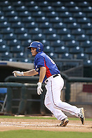 Zach Stephens #8 of the AZL Rangers bats against the AZL Cubs at Surprise Stadium on July 6, 2014 in Surprise, Arizona. AZL Rangers defeated the AZL Cubs, 7-5. (Larry Goren/Four Seam Images)