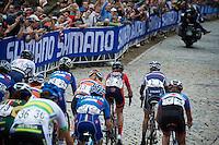 #1 Pauline Ferrand-Prevot (FRA/Rabobank-Liv) takes on the cobbles of 23rd street<br /> <br /> Elite Women Road Race<br /> UCI Road World Championships Richmond 2015 / USA