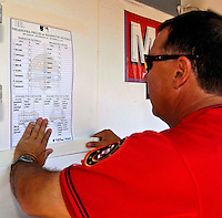 23 September 2007: Washington Nationals third base coach Tim Tolman posts the very last RFK roster card in the Nationals' dugout prior to a game against the Philadelphia Phillies at Robert F. Kennedy Memorial Stadium in Washington, DC. The Nationals defeated the visiting Phillies 5-3 to close out the 2007 home season and the final game in baseball history at RFK Stadium. The Nationals will open up the 2008 season at Nationals Park, their new facility currently under construction.. .Mandatory Photo Credit: Ed Wolfstein Photo