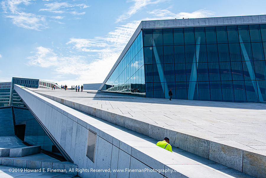 Long gentle slope up the roof of Oslo Opera House