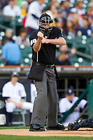 Home plate umpire Chris Conroy makes a strike call during the Major League Baseball game between the Tampa Bay Rays and the Detroit Tigers at Comerica Park on June 4, 2013 in Detroit, Michigan.  The Tigers defeated the Rays 10-1.  Brian Westerholt/Four Seam Images