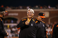 SAN FRANCISCO, CA - OCTOBER 2:  Former San Francisco Giants great Dave Dravecky stands on the field during ceremonies for the Willie Mac Award, named after former Giants great Willie McCovey before the game against the Colorado Rockies at AT&T Park on Friday, October 2, 2015 in San Francisco, California. Photo by Brad Mangin