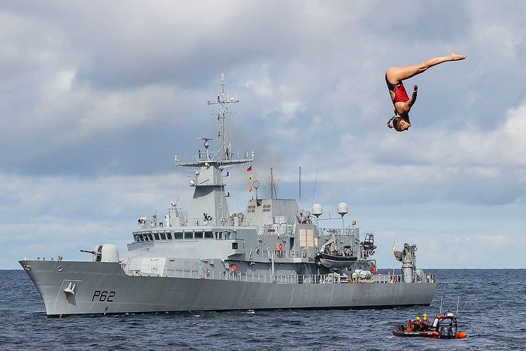 Jessica Macaulay of Canada, with the LE James Joyce in the background, at the Red Bull Cliff Diving World Series at Downpatrick Head, Mayo on Sunday. The world's best cliff divers faced possibly their toughest test of the 2021 Red Bull Cliff Diving World Series as they leaped, twisted and somersaulted from heights of up to 27m and at speeds in excess of 85km/h into the Wild Atlantic waters below
