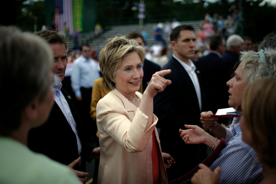 Democratic presidential candidate, U.S. Sen. Hillary Clinton, D-N.Y., left, appears with her husband former President Bill Clinton during a campaign event in Keene, N.H., Friday, July 13, 2007.<br /> Photo by Brooks Kraft/Corbis