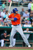 Midland Rockhounds designated hitter Vinnie Catricala (43) at bat during the Texas League baseball game against the San Antonio Missions on July 13, 2013 at Nelson Wolff Municipal Stadium in San Antonio, Texas. The Missions defeated the Rock Hounds 5-4. (Andrew Woolley/Four Seam Images)